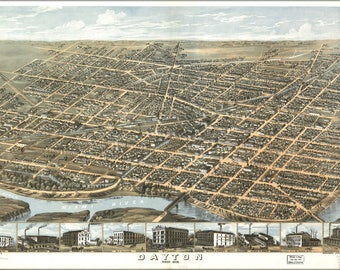 Poster, Many Sizes Available; Map Of Dayton, Ohio 1870