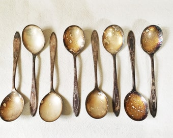 Antique Soup Spoons-Silver-Community Plate