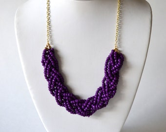 Purple Beaded Braid Statement Necklace, Purple Beaded Necklace in Gold or Silver, Fashion Necklace