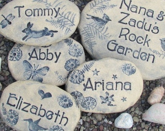 Personalized Stones with family names / Children / Grandchildren names / Woodland animals, birds, fairies, moon and stars. Unique gifts