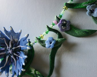 Wildflower Polymer Clay Necklace Cornflower and Forget-Me-Nots...Statement Piece, Nature Inspired and Magical