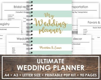 Printable Wedding Planner | Wedding Planner Printable | wedding planner organizer, Wedding planner PDF | Checklist Printables | Letter Size