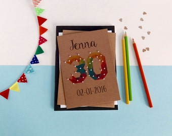 30th birthday card - Any age - Any name - 16th card. 18th card. 20th, 21st, 40th, 50th, 60th, 70th, 80th - Brown card - (With beads)