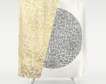 Day and Night Shower Curtain  – Minimal Tribal Design
