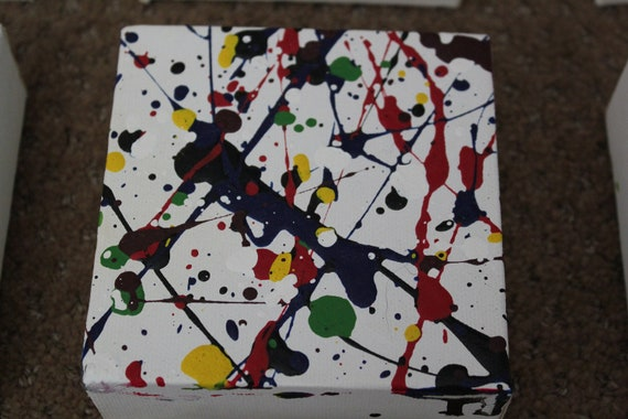 Set of Nine Abstract 4x4 canvas, original acrylic painting