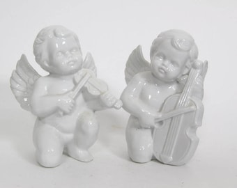 Vintage Angels Playing Instruments Ceramic Figurines, Spiritual Religious Musical Chello Violin