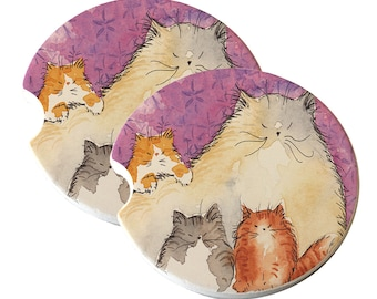 Maine Coon Kitty Family Mama & Kittens on Mauve with Stars  Natural Sandstone Drink Coaster Sets Home Decor Car Cat Art Cat Lover Cat Gift