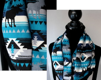 Lovely Walking Moose Scarf - Cotton Flannel Infinity Scarf - Womens Scarf - Winter Fashion - Blue Black Aztec Print