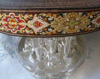 """Red Green White Gold Metallic Jacquard Black Ribbon 1 1/8"""" wide yards sewing crafts costume yardage rayon woven edge Bavarian Pattern lurex"""