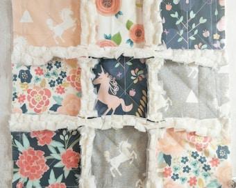 Licorne Minky Rag Quilt Lovey