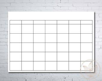 Blank calendar printable page, Ready to print calendar, Printable calendar, Diy calendar, 8x10, 8.5x11, A4, JPG, PDF