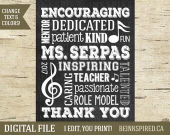 Personalized Music Teacher Appreciation Gift Art Print Sign, Teacher Gift, Music Gift, Music Notes, Gift for Music Teacher, DIGITAL FILE