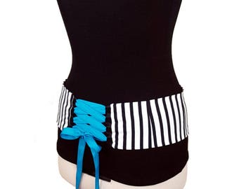 Black and White Stripe Belly Dance Hip Belt / Corset Style Lace Up Dance Belt / Shaped to Fit Your Hips / Plus Size Available
