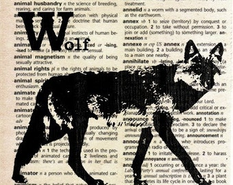 Animal Print on Vintage Dictionary Page - Wolf