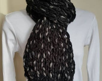 Loose Knit Black Scarf, Knitted Scarf, Neck Warmer, Scarf, Hand Knitted Scarf, Black Scarf, Chunky Scarf, Handmade Scarf