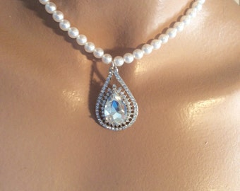 Bridal necklace bridal jewelry pearl necklace wedding jewelry wedding necklace rhinestone necklace wedding jewelry