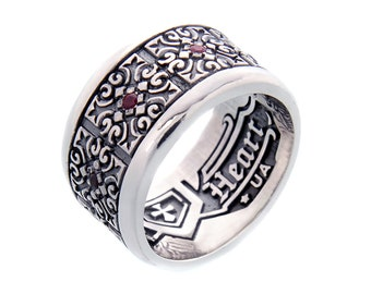 "Silver ring with red stones ""Glory"""