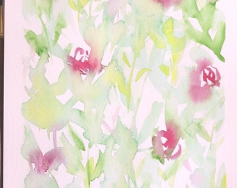 Original watercolour painting | Floral | abstract | wall decor | Green | Pink