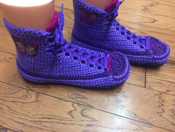 10 High Crocheted Slippers butterfly Shoe shoes Sneaker Tennis 187 high purple house pink slippers Top List top slippers slippers 8 Womens UpwqfpS