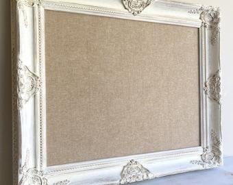 Fabric MEMO BOARD Gallery Wall Linen Board Tan White Distressed Wood Rustic Wall Organizer Kitchen Framed Magnet Board Cork Board Texture