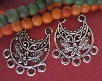 8 Earring dangles boho  gypsy earring hoops hippie jewelry findings 23mm 20mm bohemian antique silver diy jewelry supply(G4)