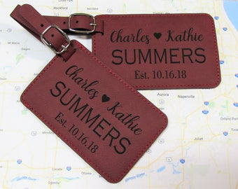 His & Hers Luggage Tag - Set of 3 - Personalized Luggage Tag - Couple Heart Luggage Tag - Leatherette Luggage Tag - Wedding Gift