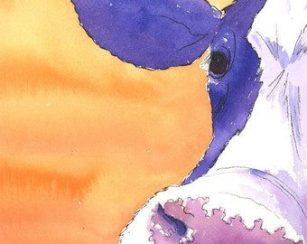 Cow Portrait  8x10 print How Now... Violet Cow