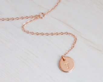 Rose Gold Y Necklace, Rose Gold Disc Necklace, Initials necklace, Personalized Necklace, Short Y Necklace Minimal, Rose Gold Lariat Necklace