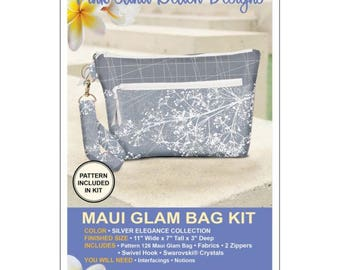 Maui Glam Bag Kit, Silver Elegance Collection, Silver Clutch Purse, Pink Sand Beach Designs, Purse Kit, Evening Bag Kit
