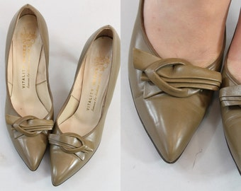 50s Shoes Size 6.5 N / 1950s Leather Pumps/ Anouk Heels