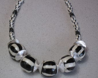 "NEW African Trade Beads Necklace, Zebra Batik Bone, Black White Chevron, Eye Beads, Boho, Tribal, Ethnic, African,  17-3/4"" Long"