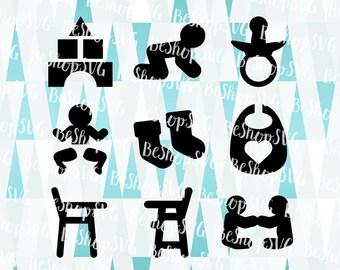 Baby SVG, Baby icons SVG, New born SVG, Nursery Svg, Baby boy Svg, Baby girl Svg, Mother Svg, Instant download, Eps - Dxf - Png - Svg