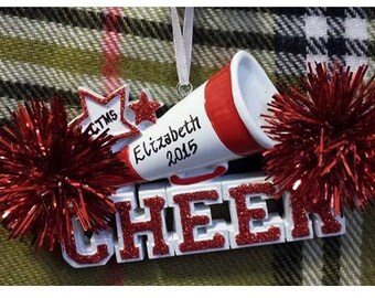 Personalized Christmas Ornament Cheer Megaphone and Red Pom Poms - Gift for Cheerleader - Cheer Birthday - Cheer Ornament - Cheer Team Gifts
