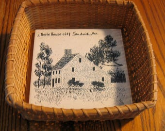 Vintage CAPE COD Nantucket Style BASKET w/ Glazed Tile of the Hoxie House 1657 Sandwich, Ma.