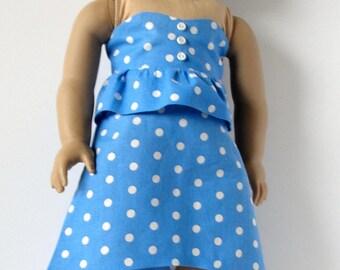 High low skirt and top blue polka dot.  Fits 18 inch dollslike American girl,journey girl, my genration.  American handmade. Gift for girl.