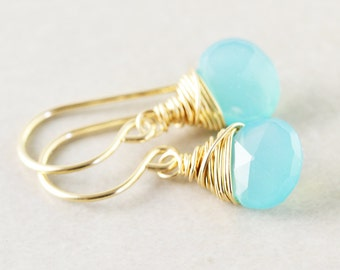 Aqua Chalcedony Dangle Earrings, Teal Drop Earrings, Mint Earrings