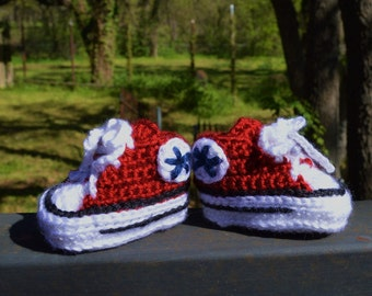 Crochet Converse Style Newborn Baby Sneakers / Baby Booties (0-3 Months) Red