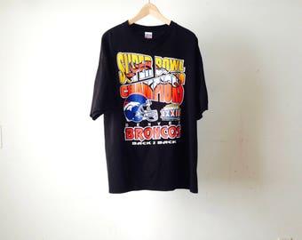 DENVER BRONCOS black t-shirt BACK 2 back size xl vintage 90s john elway t-shirt