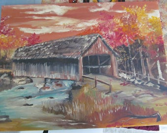 Hand Painted Covered Bridge Painting Covered Bridge over River Picture Hand Painting Wall decor Hand Painted Artist signed RYDER