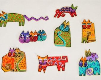 SALE*Set of Eight Adorable Cat Appliques*Handmade*RARE Laurel Burch Fabric/K
