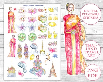 """Watercolor """"Beauty of Thailand"""" Stickers   Printable Sticker Sheet   Thai Culture & Food   Lotus, Coconut, Temple, Travel Journal Stickers"""
