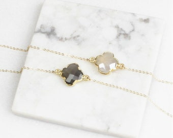 Clover necklace etsy clover necklace layering necklace silver or gold necklace necklace for women 14kt aloadofball Image collections