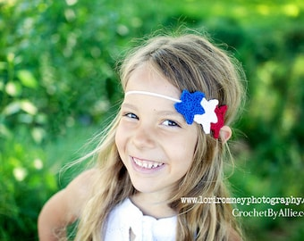 Patriotic Star Headband, 4th of July, Americana, USA, photo prop, Crochet by Allie