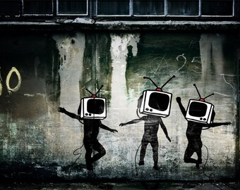 BANKSY Canvas Tv Heads Banksy Graffiti Wall Art Print Gallery Wrapped