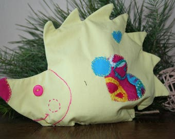 """""""hedgehog"""" yellow and fuchsia removable grain of rice heating pad"""