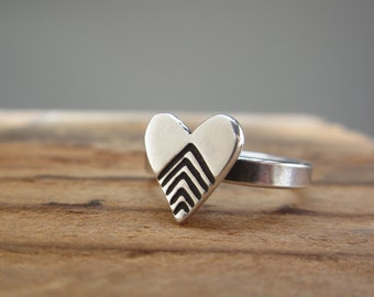 Sterling Silver Chevron Heart Ring - Geometric Heart Chevron Ring
