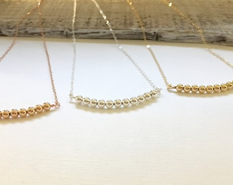 Rose Gold Beaded Bar Necklace, Gold Filled Curved Bar Necklace, Sterling Silver Beaded Choker, Everyday Necklace