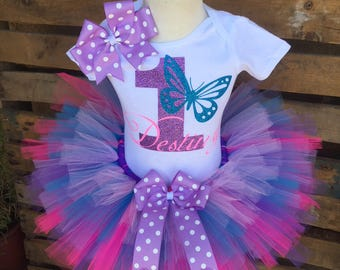 Butterfly Birthday Tutu Outfit Dress Set Handmade - ANY Age - Quick Ship
