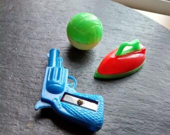 SALE VTG 50s dime store novelty pencil sharpeners plastic miniature Hong Kong pistol gun soccer ball iron sharpener July 4th birthday