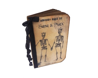 Halloween Wedding Guest Book, Personalized Couples Journal, Anniversary Gift, Goth, Fall Wedding, Skeleton Couple, Honeymoon Journal